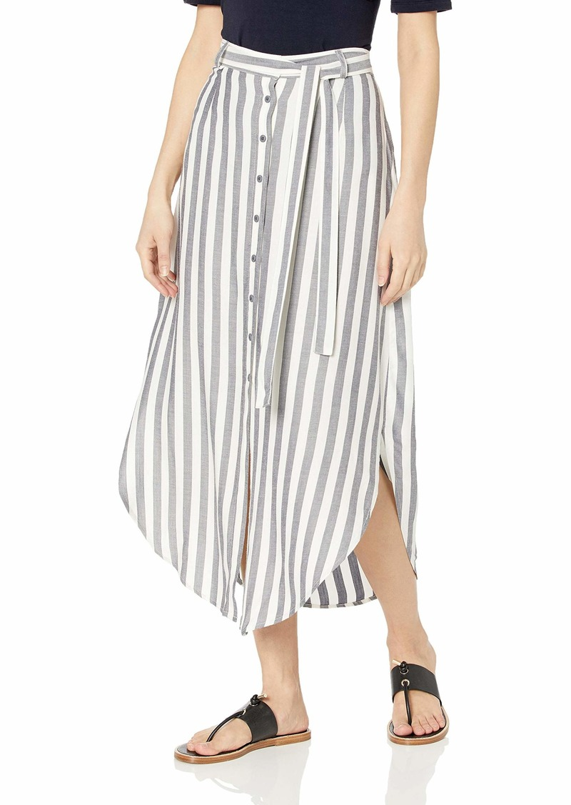 BB Dakota womens Stripe I Like Rayon midi Skirt navy