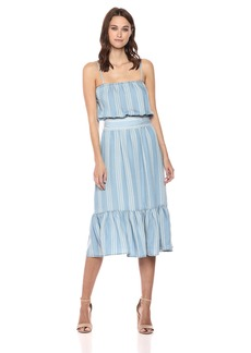 BB Dakota Women's Tailyn Striped Tie Front Midi Dress  Extra Small