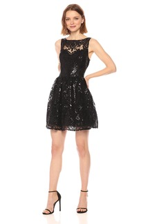 BB Dakota Women's Tate Sequin Lace Fit N Flare Dress