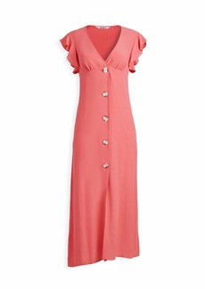 BB Dakota Women's That's Amore Textured Crepe Button Front Midi Dress