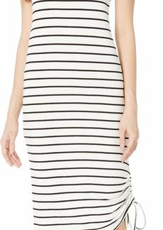 BB Dakota womens what's the ruche Stripe French Terry Ruched Dress ivory large