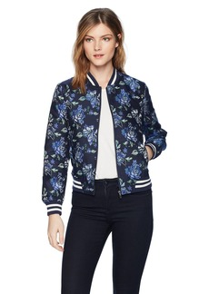 BB Dakota Women's Zoey Floral Jaquard Bomber Jacket  Extra Small