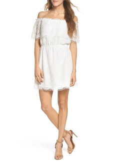 BB Dakota Zinnia Lace Ruffle Off the Shoulder Dress