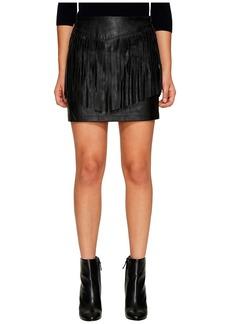BB Dakota Cooley Faux Leather Fringe Skirt