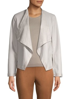 BB Dakota Draped-Front Faux Leather Blazer