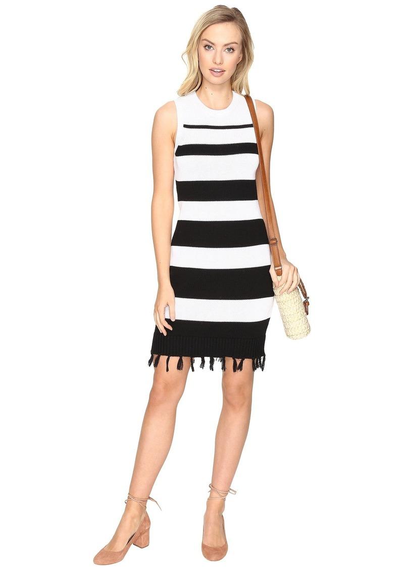 BB Dakota Dri Stripe Sweater Dress with Fringe