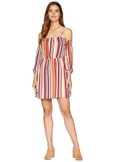 "BB Dakota Eternal Sunshine ""Sunset Stripe"" Printed Crepe de Chine Off the Shoulder Dress"
