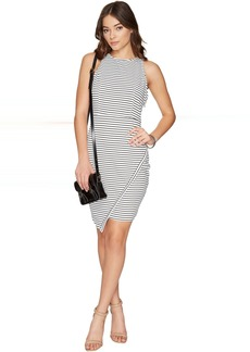 Jack by BB Dakota Ariceli Striped Ponte Bodycon Dress with Asymmetrical Hem