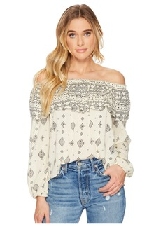 BB Dakota Bernadine Mixed Print Crinkle Viscose Off Shoulder Top