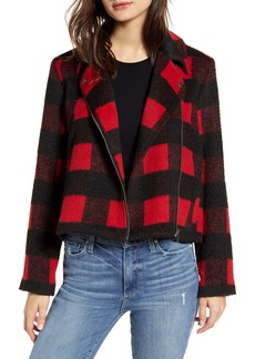 Jack by BB Dakota Buffalo Plaid Moto Jacket