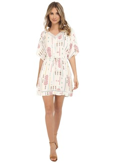 Jack by BB Dakota Cecilia Tribal Detail Printed Light Rayon Challi and Lace Trim Dress