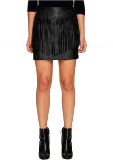 Jack by BB Dakota Cooley Faux Leather Fringe Skirt