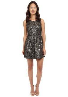 Jack by BB Dakota Cooper Metallic Brocade Pleated Dress