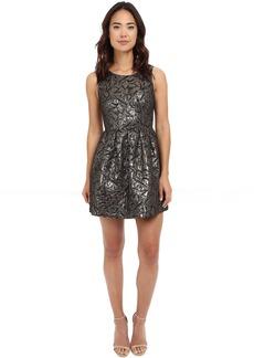 Jack by BB Dakota Cooper Metallic Brocade Pleated Dress