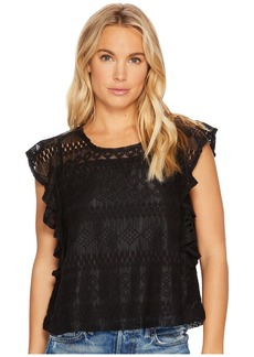 BB Dakota Dori Stripe-Pattern Lace Top