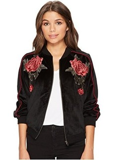 Jack by BB Dakota Eleni Velvet Bomber Jacket with Floral Patches