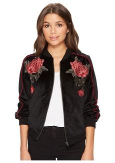 BB Dakota Eleni Velvet Bomber Jacket with Floral Patches