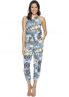 "Garnett ""Wandering Floral"" Printed Rayon Challis Jumpsuit"