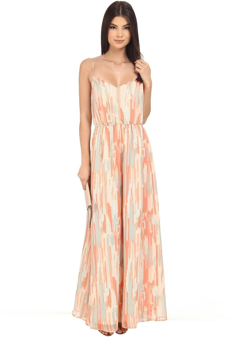 Jack by BB Dakota Hildy Whimsical Waterfall Printed Crinkle Chiffon Maxi Dress