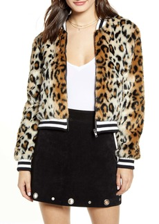 Jack by BB Dakota Leopard Faux Fur Bomber Jacket