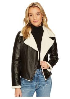 BB Dakota Lovella Washed Vegan Leather Sherpa Trimmed Jacket
