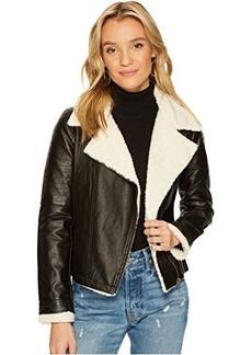 Jack by BB Dakota Lovella Washed Vegan Leather Sherpa Trimmed Jacket
