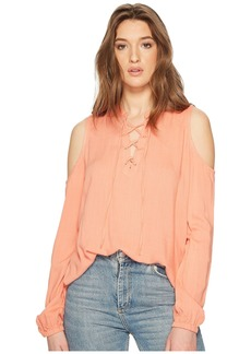 BB Dakota Rossi Slub Gauze Tie Front Cold Shoulder Top