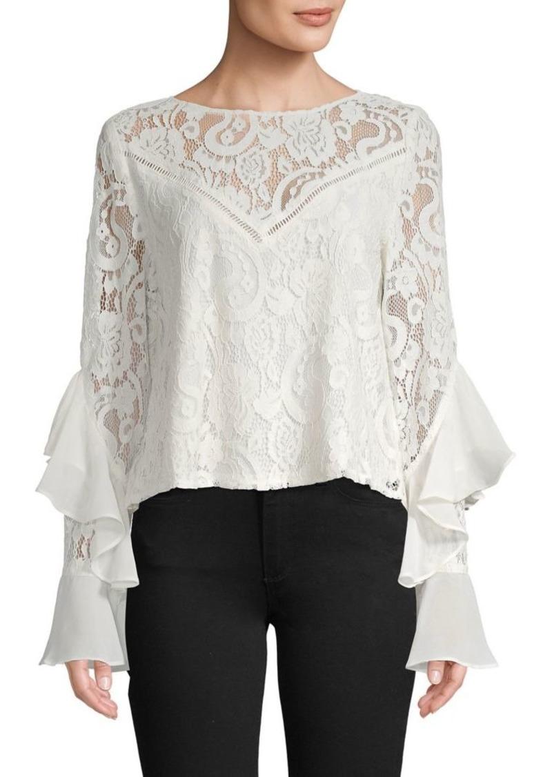 Jack by BB Dakota Ruffle-Sleeve Lace Cotton-Blend Top