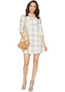 Jack by BB Dakota Seymour Soft Plaid Tape Trim Long Sleeve Dress