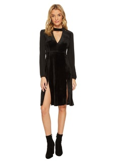 BB Dakota Sherwood Deep-V Velvet Dress with Crepe de Chine Contrast