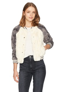 Jack by BB Dakota Women's Aisen Swirly Faux Fur Color Blocked Bomber Jacket