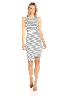 Jack by BB Dakota Women's Ariceli Striped Ponte Bodycon Dress with Asymetrical Hem