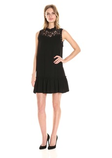Jack by BB Dakota Women's Barnes Slub Gauze and Lace Dress with Ribbon Trim