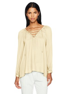Jack by BB Dakota Women's boothe Rayon Crepe Lace-up Top