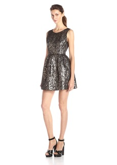 Jack by BB Dakota Women's Cooper Metallic Brocade Pleated Dress