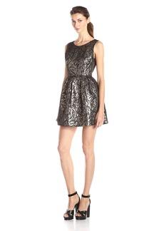 Jack by BB Dakota Women's Cooper Metallic Brocade Pleated Dress