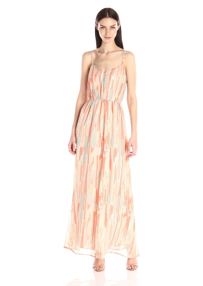 Jack by BB Dakota Women's Hildy Whimsical Watercolor Printed Crinkle Chiffon Maxi Dress