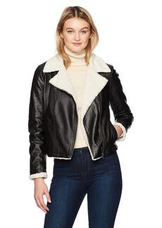 Jack by BB Dakota Women's Lovella Washed Vegan Leather Sherpa Trimmed Jacket