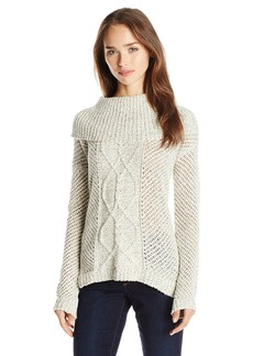Jack by BB Dakota Women's Samwell Marled Yarn Cable Knit Turtleneck Sweater