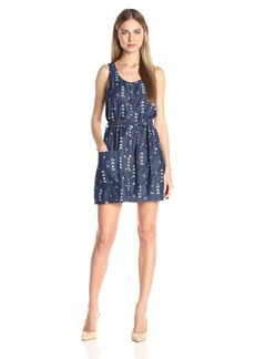 Jack by BB Dakota Women's Tavon Printed Chambray Snap Front Dress