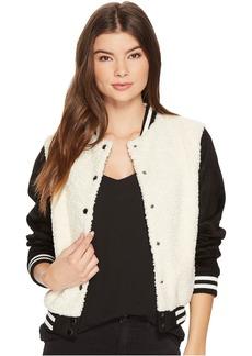 BB Dakota Karah Contrast Sherpa and Faux Suede Varsity Jacket