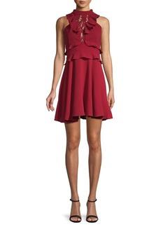 BB Dakota Lace & Ruffle Mockneck Mini Dress