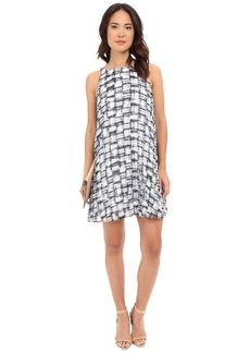 BB Dakota Leah Plaid Printed Chiffon Pleated Dress