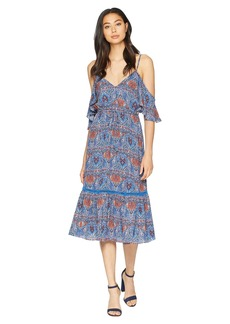 "BB Dakota Marrakesh Express ""Blue Dynasty"" Printed Crepe de Chine Dress"