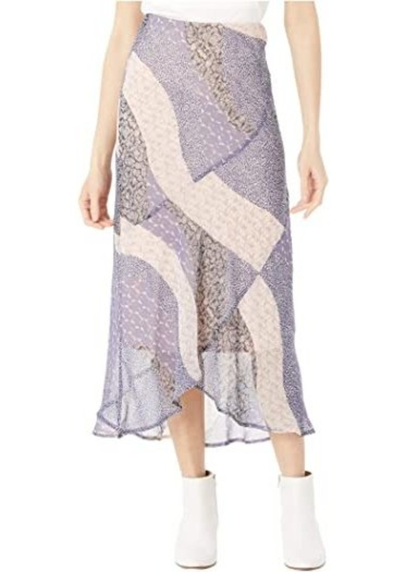 "BB Dakota Patch Me In ""Patchwork Floral"" Printed Chiffon Midi Skirt"