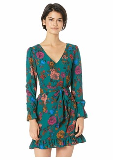 BB Dakota Petal Down Whimsical Wallflower Printed Crepe de Chine Dress