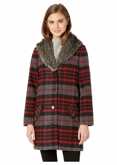 BB Dakota Plaid Romance Brush Plaid Coat with Fur Collar