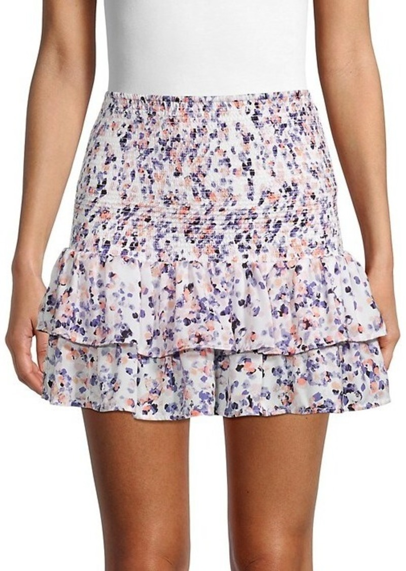 BB Dakota Printed Smocked Ruffle Mini Skirt