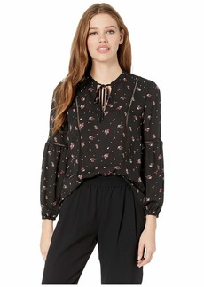"BB Dakota Rose Is A Rose ""Petite Rose"" Printed Crepe de Chine Top"
