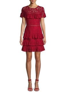 BB Dakota Ruffled Lace Fit-&-Flare Dress